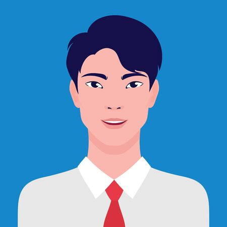 Portrait of an Asian businessman smiling, vector flat illustration. Asian young successful man avatar.