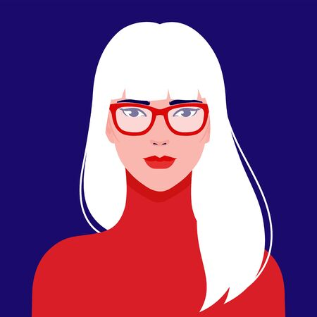 Portrait of a young beautiful, Asian fashion woman in eyeglasses, vector flat illustration. Asian cute girl avatar.
