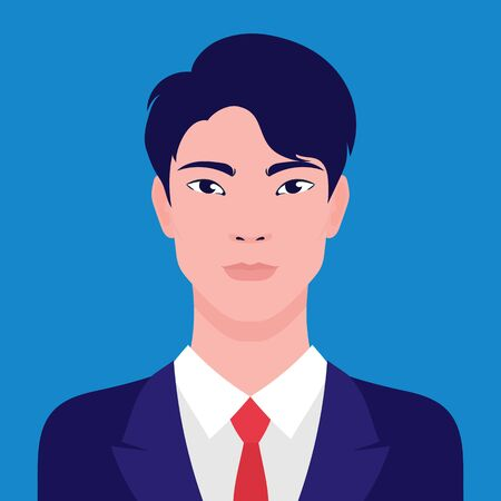 Portrait of an Asian businessman, vector flat illustration. Asian young successful man avatar.