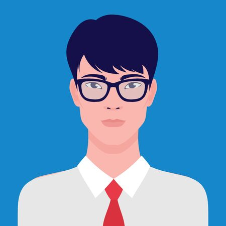 Portrait of an Asian businessman in eyeglasses, vector flat illustration. Asian young successful man avatar.