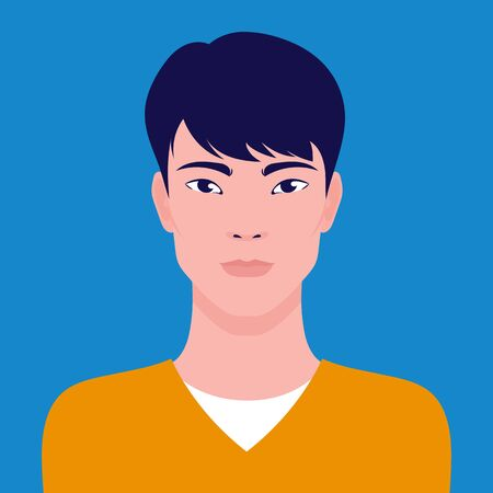 Portrait of a young Asian man, vector flat illustration. Asian handsome guy avatar. 向量圖像
