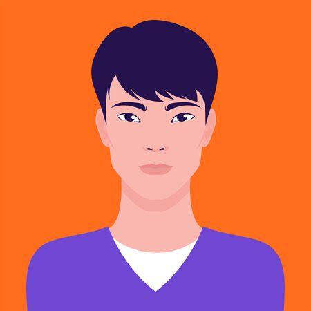 Portrait of a young Asian man, vector flat illustration. Asian handsome guy avatar. Иллюстрация