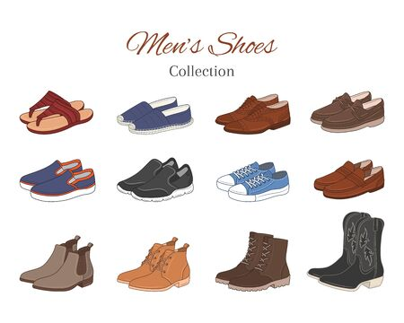 Mens shoes collection. Various types of male shoes casual boots, sneakers, formal shoes, vector illustration, isolated on white background.