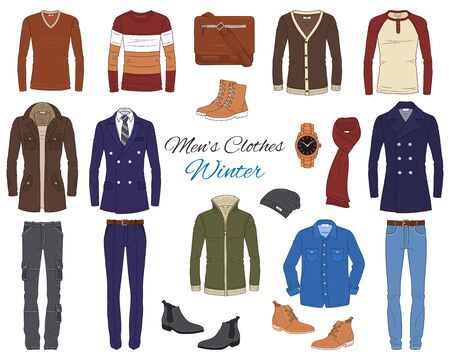Mens Fashion set, clothes and accessories, vector illustration 일러스트