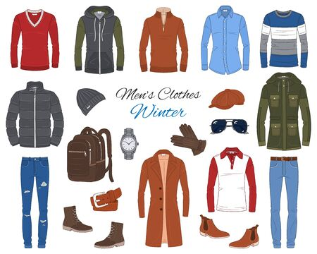 Mens Fashion set, clothes and accessories. Vector illustration Иллюстрация