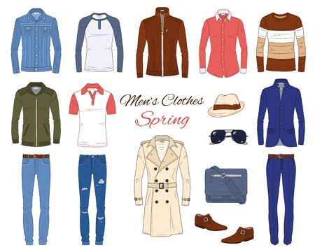 Mens Fashion set, clothes and accessories, vector illustration Ilustracja