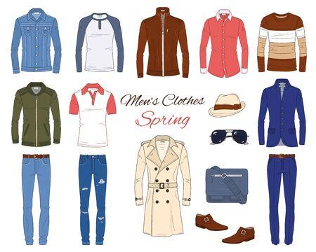 Mens Fashion set, clothes and accessories, vector illustration Иллюстрация