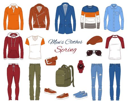 Men's Fashion set, clothes and accessories, spring outfit: coats, jackets, jeans pants, shirts, sportswear, sunglasses and backpack, vector illustration, isolated on white background. Иллюстрация