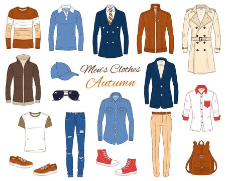 Mens Fashion set, clothes and accessories, autumn outfit: coats, leather jacket, jeans pants, shirts, sunglasses, backpack and baseball cap, vector illustration, isolated on white background.