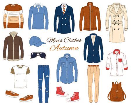 Set moda maschile, vestiti e accessori, outfit autunnale: cappotti, giacca di pelle, pantaloni jeans, camicie, occhiali da sole, zaino e berretto da baseball, illustrazione vettoriale, isolato su sfondo bianco.