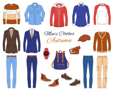 Mens Fashion set, clothes and accessories, autumn outfit: jeans pants, shirt, suits, jackets, hoodie, backpack and wrist watch, vector illustration, isolated on white.