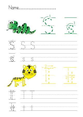 Alphabet handwriting S T 版權商用圖片 - 23204416