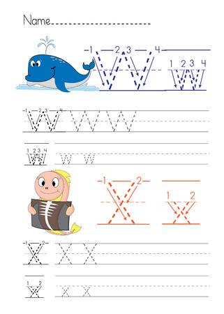 workbook: Alphabet handwriting W X