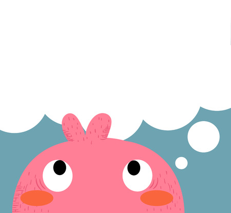 illustrators: pink monster thinking