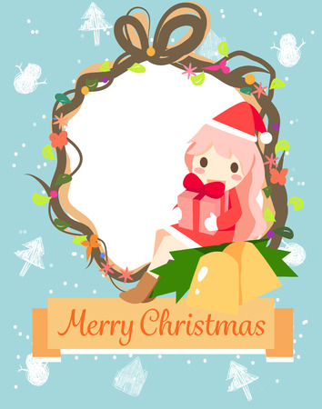santa girl: a Santa girl give a present to chid.Can use for Christmas card Illustration