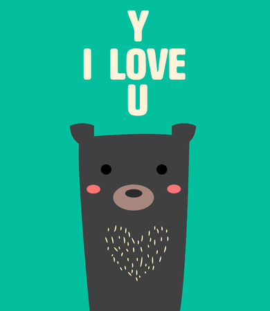 cute bear.black but so sweet with text I love you. Illustration