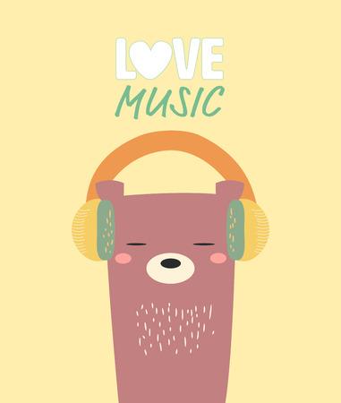teddy bear love: cute bear with headphone.love music.
