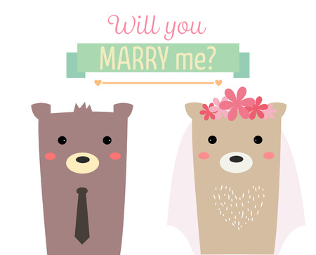 will you marry me: couple bear married with text will you marry me? Illustration