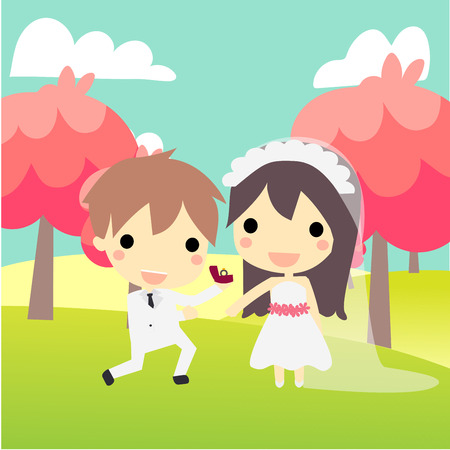 propose: propose at nature.cute couple in wedding