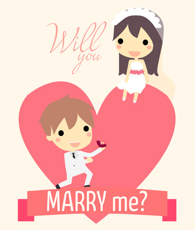 propose: cute couple in big heart.with ring for propose and text will you marry me.