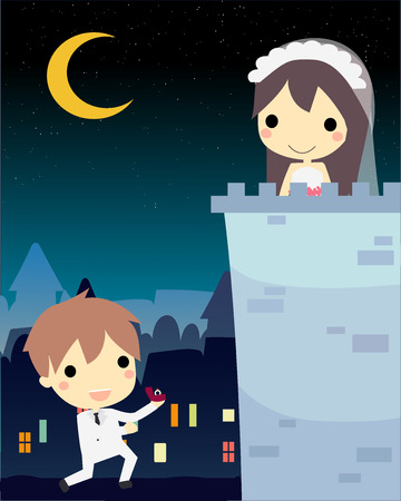 propose: man in wedding suit propose to his love,stand in castle.cute vector Illustration
