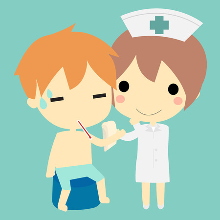 nurse uniform: nure rub the body  with wet cloth to reduce the fever of patient. Illustration
