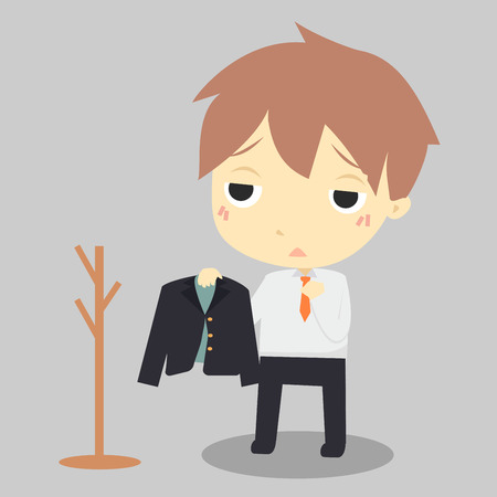 clothes rack: businessman is tired.He hang suit at clothes rack.