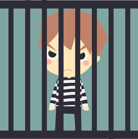 jail cell: cute prisoner in the jail.vector.