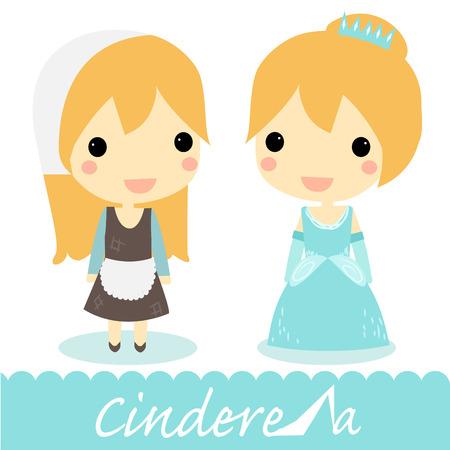 cinderella: Cinderella 2 version.maid and princess.vector.