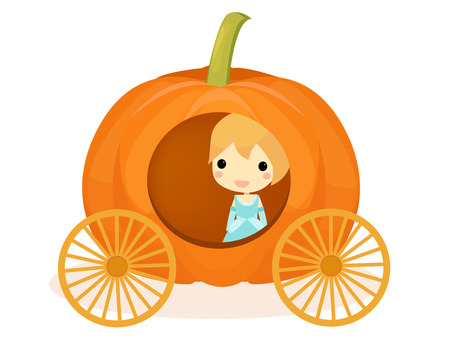 cinderella pumpkin: cute Cinderella in pumpkins  carriage.vector