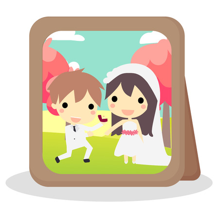 photoframe with couple in wedding suit. Illustration