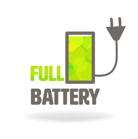 charge: full battery charge icon with text.vector Illustration