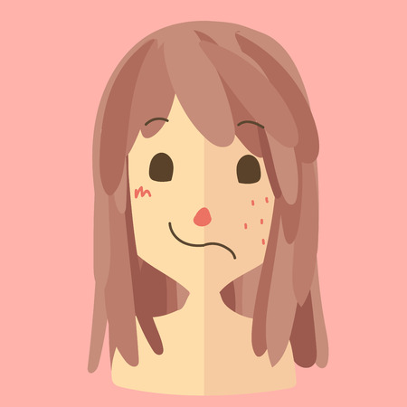 beuty: a woman that half face is beuty and another is ugly has a lot of  pimples.cute vector Illustration
