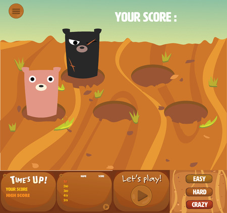 whack: set of whack a bear gui interface theme games design.it has menu,time up,score board and cute bear.