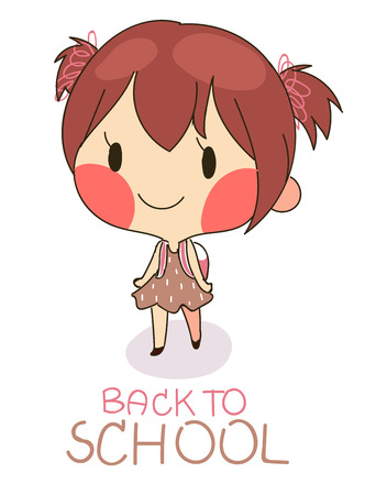 bag cartoon: cute girl hold bag walking to school with text back to school.vector illustration in white background.