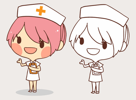 occupation cartoon: cute nurse pink hairl for coloring  book.line art cartoon.vector illustration.white