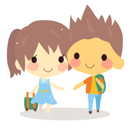 cute couple: cute couple travel with bag.tourist vector illustration Illustration