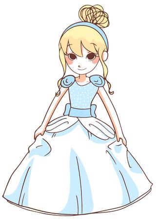 cinderella: cute cinderella in blue dress.vector illustration on white background.