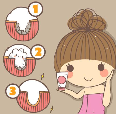 Informations greaphics de femme mignonne détiennent nettoyage foam.step travail de nettoyage pour le visage de skin.beauty saine. Illustration