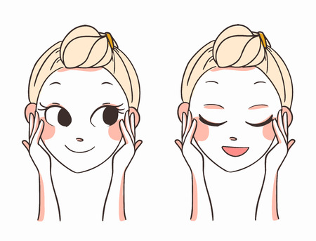 skincare facial: beautiful womens face and hands.skin care.vector illustration
