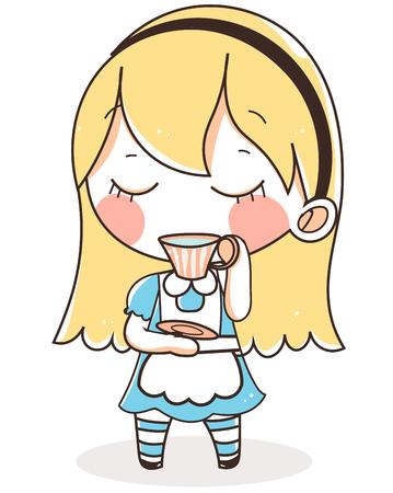 blue dress: alice in wonderland  blue dress tea.cute vector illustration. Illustration