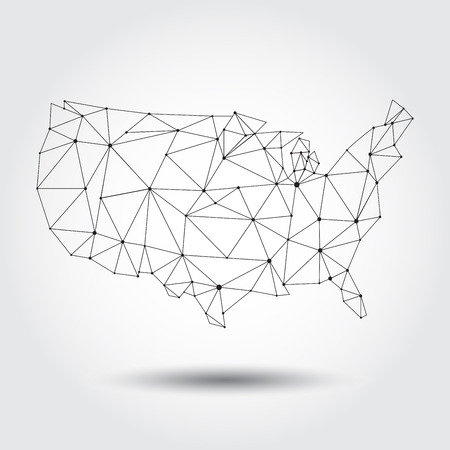 lineart: map of USA lineart design isolated on white background Illustration