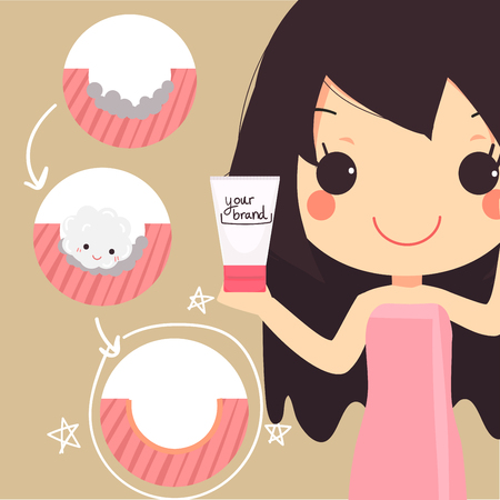 skincare facial: info graphics of cute woman hold cleansing foam.step cleansing work for healthy skin.beauty face.vector illustration.