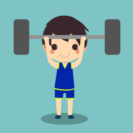 hombre sano hacer ejercicio en peso levantando una barra de pesas