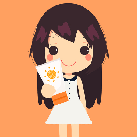 sun cream: cute woman hold sunscreen cream illustration
