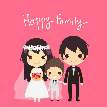 husband and wife: cute family with husband wife and their son in wedding suit with text happy family.vector illustration Illustration