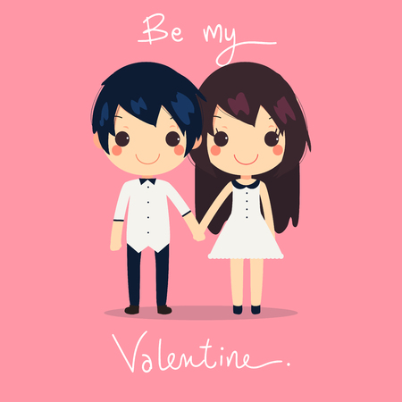 hold hands: card of cute couple hold hands together. they wear couples dress and shirt with text be my valentine