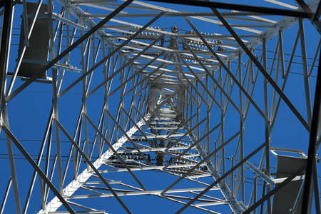A transmission tower or power tower (alternatively electricity pylon or variations) is a tall structure, usually a steel lattice tower, used to support an overhead power line. Reklamní fotografie