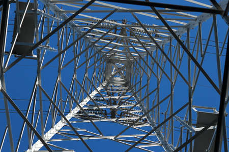 A transmission tower or power tower (alternatively electricity pylon or variations) is a tall structure, usually a steel lattice tower, used to support an overhead power line.