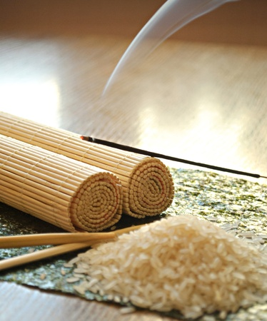 incense sticks: rice, chopsticks, bamboo, asia, asian, Japanese, cuisine, sushi, tasty, appetizing food, grass, grain, smoke, perfume, incense sticks, white, brown, delicacy, it is useful, diet, dinner, breakfast, dinner, and still life , items one, beautiful, interestin